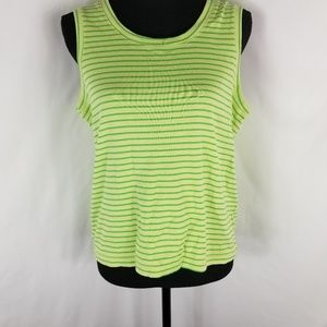 Hannah Sleeveless Green Striped Top Size M
